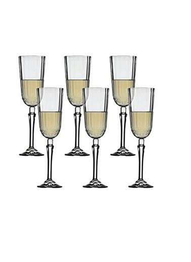 Paşabahçe Diony 440210 Ayaklı Flüt Kadeh - 6 Lı Şampanya Kadehi Renkli